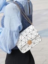 Trendy Geometric Pattern Chain Shoulder Bag