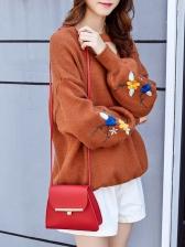Twist Lock Solid Color Shoulder Bags For Women