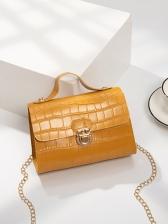 Solid Crocodile Pattern Metal Hasp Chain Shoulder Bag