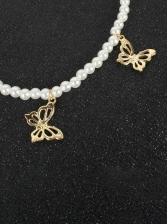 Street Butterfly Faux-Pearl Pendant Necklace