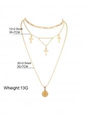 Vintage Golden Pendant Cross Necklace