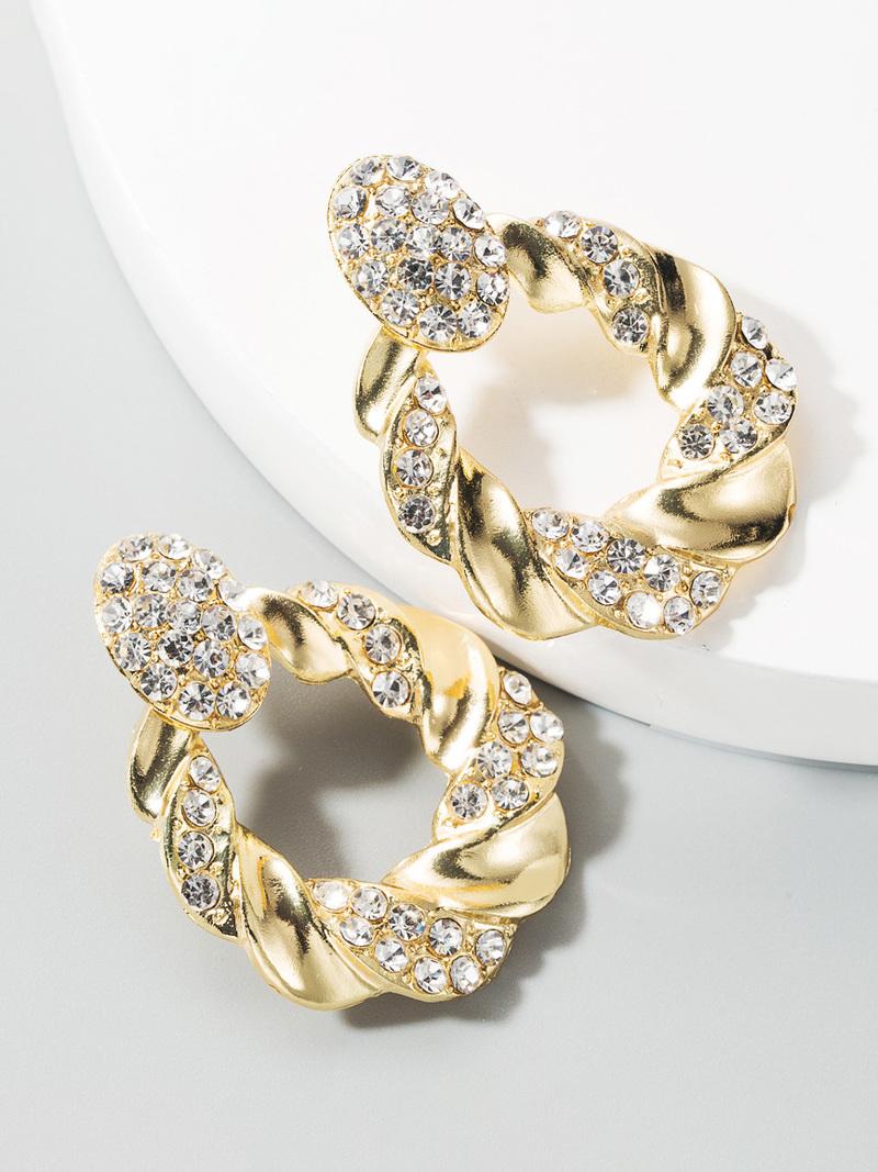 Rhinestone Geometry Faux-Pearl Earrings