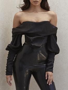 Fashion Off Shoulder Black Chiffon Blouse