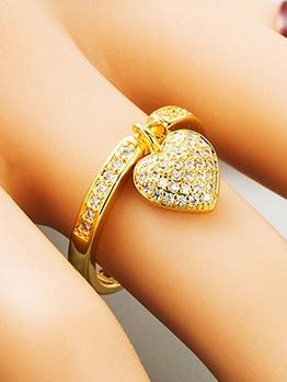 Heart Shape Pendant Zircon Women Ring