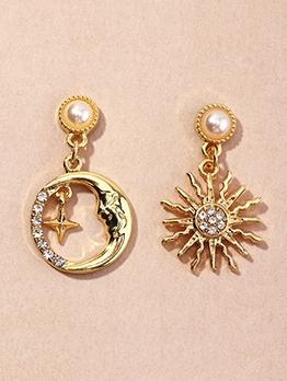 Fashion Rhinestone Star Moon Earrings