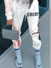 Casual Printed Drawstring Winter Sweatpants Women