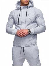 Solid Hoodie Mens Casual Jackets