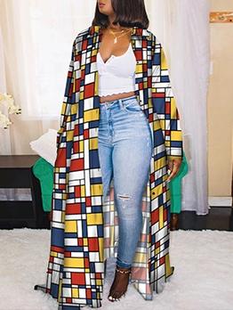 Plaid Print Long Sleeve Plus Size Long Coat