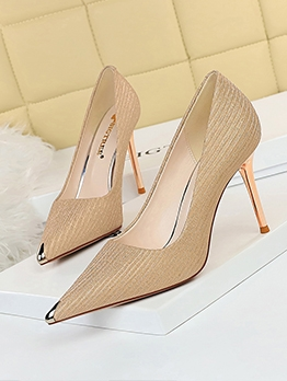 Glitter Pointed Toe Women Pumps Heels
