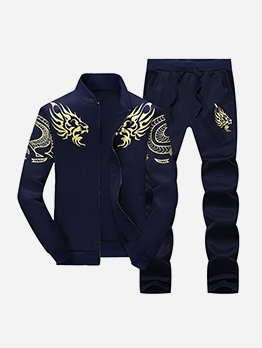 Flame Print Two Piece Tracksuit For Men Casual