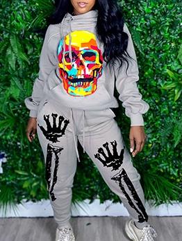 Skull Halloween Print Long Sleeve Pants Set