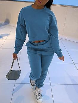 Solid Sweatshirt Crop Top And Pant Set