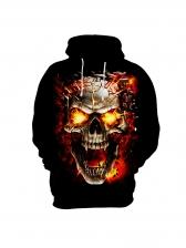 Skull Print Black Loose Hoodie For Men