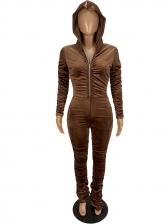 Velvet Zipper Up Stacked Long Sleeve Jumpsuit