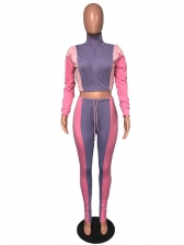 Contrast Color Zipper Up Stand Collar Womens Tracksuit