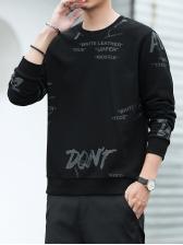 Simple Letter Printing Long Sleeve Mens Sweatshirts