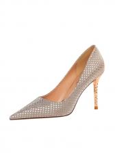 Glitter Pointed Toe Slip On High Heels