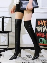 Pointed Toe Chunky Heel Thigh High Boots