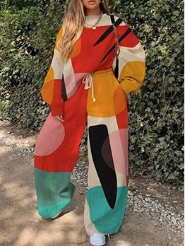 Leisure Color Block 2 Piece Pants Set