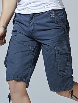 Summer Solid Cargo Short Pants Men