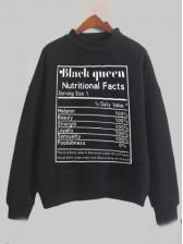 Letter Print Mock Neck Sweatshirts For Women