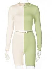 Contrast Color Two Piece Pants Set