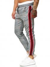 Fashion Plaid Print Trousers For Men