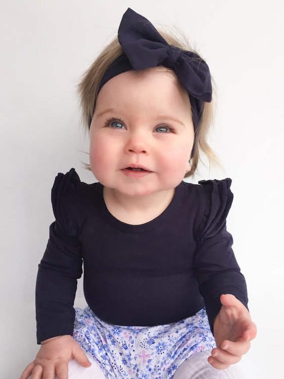 Crew Neck Solid Long Sleeve Baby Rompers