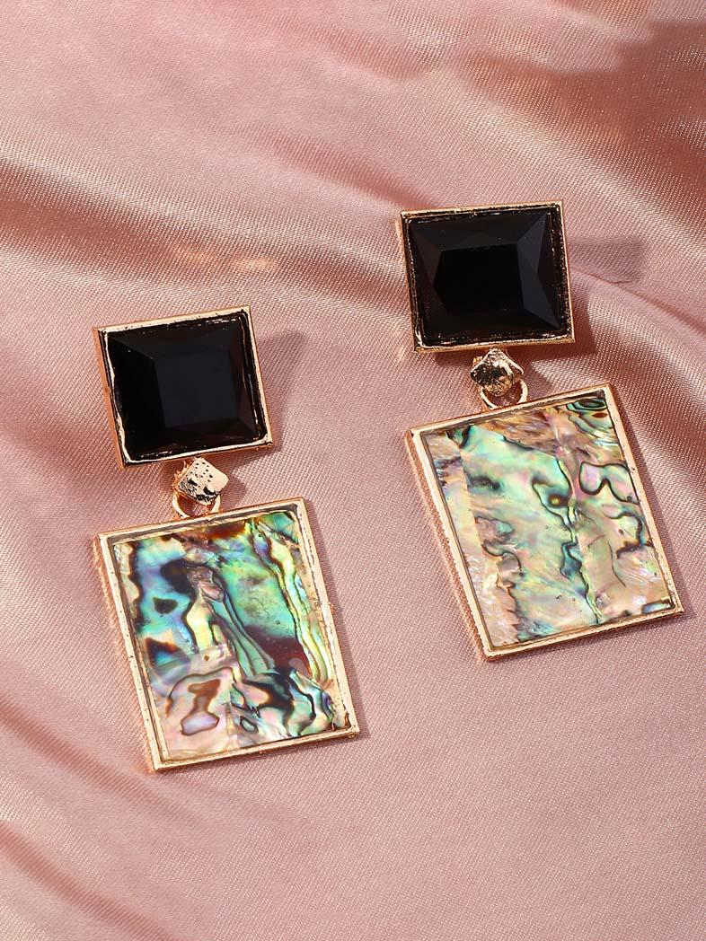 Abalone Shell Temperament Square Shape Earrings