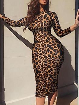 Plus Size Leopard Print Long Sleeve Bodycon Dress