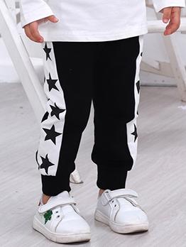 Star Print High Waist Jogger Pants For Kids
