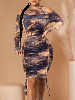 Stylish Shoulder Cut Printed Long Sleeve Bodycon Dress