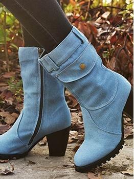 Fashion Chunky Heel Solid Denim Womens Boots