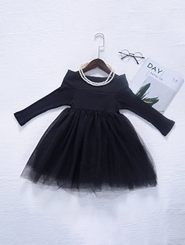 Gauze Patch Off Shoulder Black Dress For Little Girl