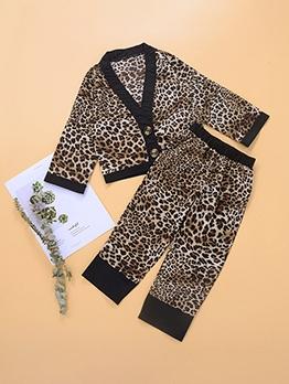 Leopard Print V Neck Two Piece Girls Clothing Sets