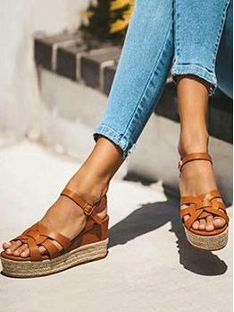 Stylish Straw Patchwork Women Wedge Sandals