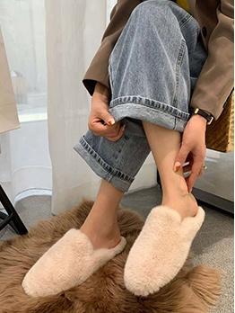Fashion Faux Fur Womens House Slippers