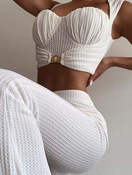 Pure Color Camisole Wide Leg Pants 2 Piece Sets