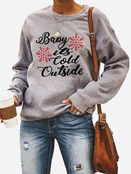 Christmas Letter Print Long Sleeve Crewneck Sweatshirt