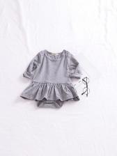 Ruffle Detail Long Sleeve Solid Baby Girl Romper