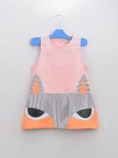 Cartoon Fox Print Crew Neck Sleeveless Girls Dress