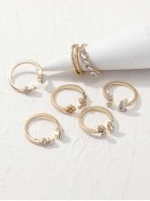 Ladies Rhinestone Seven Pieces Set Ring