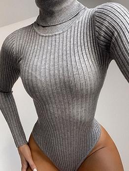 Turtleneck Solid Color Skinny Long Sleeve Bodysuit