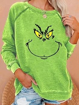 Green Printed Long Sleeve Sweatshirt