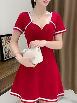 Fashion V Neck Short Sleeve Dress