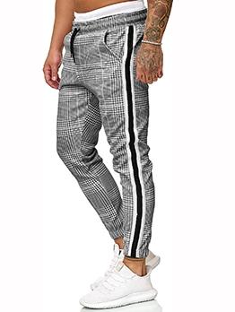 Casual Plaid Drawstring Long Pants Men