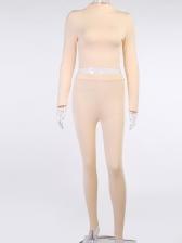 Mock Neck Pure Color Skinny Women 2 Piece Sets