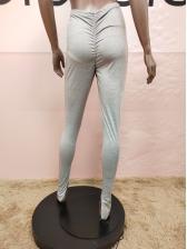High Waist Ruched Split Hem Skinny Long Pants