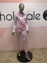 Glossy Long Sleeve Bodysuit Two Piece Sets Women