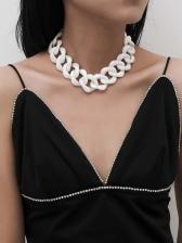 Punk Style White Color Coarse Necklace